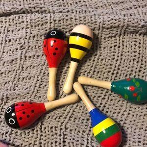 Wooden baby rattles maracas